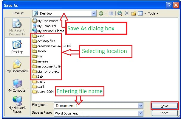 Save as Dialog box
