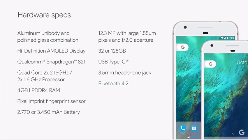 Google Pixel Phone Hardwar Specs