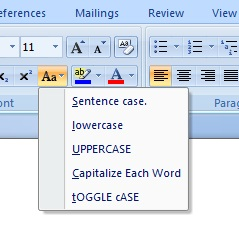 Editing Text in Microsoft Word 2007 Changing Case