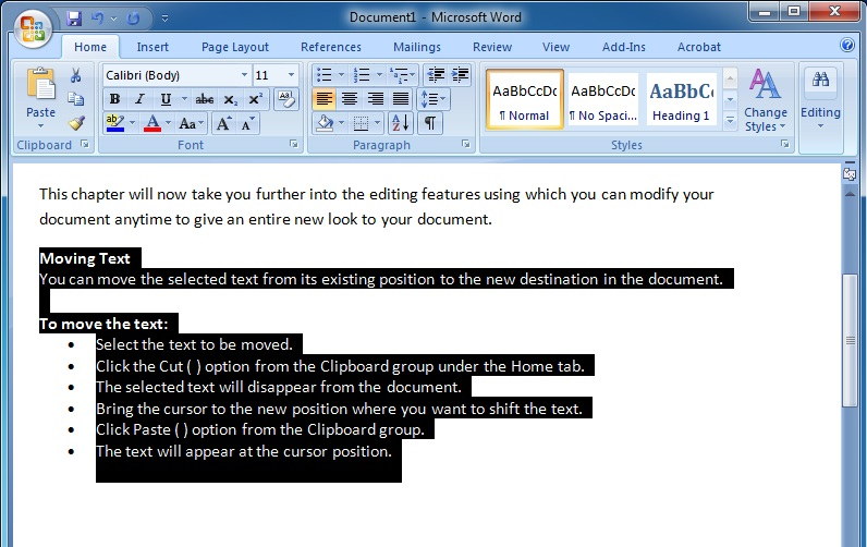 Editing Text in Microsoft Word 2007 To Select a Large Block of Text