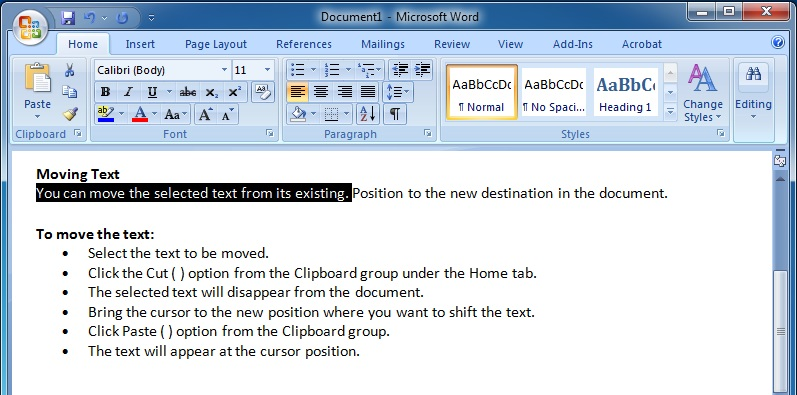 Editing Text in Microsoft Word 2007 To Select a Sentence