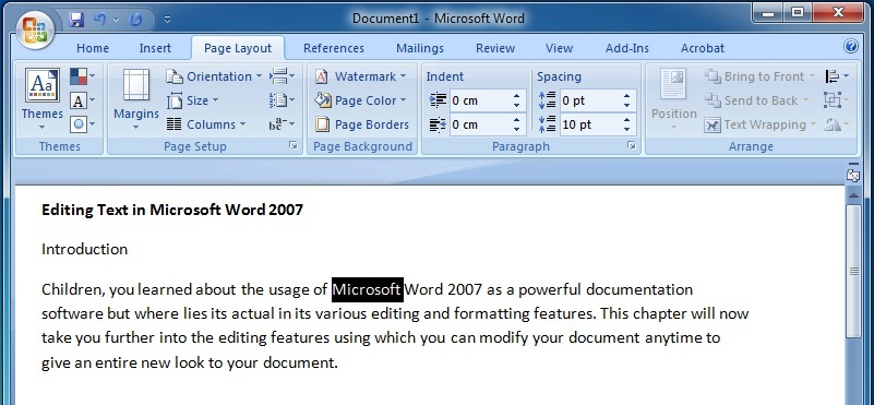 Editing Text in Microsoft Word 2007 To Select a Word2
