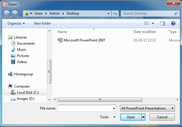 Microsoft Powerpoint To Open an Existing Presentation2